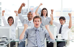 Enthusiastic business team celebrating success Stock Images