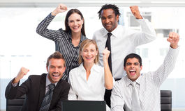 Enthusiastic Business Team Celebrating Success Royalty Free Stock Photography