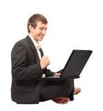 Enthusiastic businessman royalty free stock image