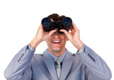Enthusiastic businessman holding binoculars Stock Images