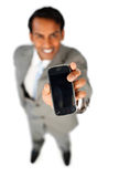 Enthusiastic businessman showing a mobile phone Stock Photography