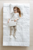 Enthusiastic charming girl being exhausted Royalty Free Stock Photography