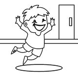 Enthusiastic child jumping coloring page. Hand drawn child jumping coloring page for kids Stock Photos