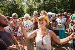 Enthusiastic Christian Woman at the Wild Goose Festival Royalty Free Stock Photos