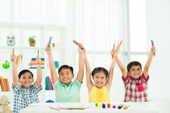 Enthusiastic classmates Royalty Free Stock Image