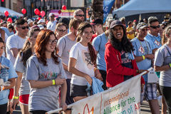 Enthusiastic Crowd at AIDSwalk Stock Images