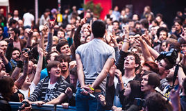 Enthusiastic Crowd During A Rock Concert Stock Image