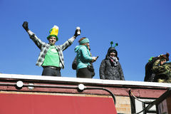 Enthusiastic crowd, St. Patrick's Day Parade, 2014, South Boston, Massachusetts, USA Royalty Free Stock Photo