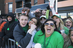 Enthusiastic crowd, St. Patrick's Day Parade, 2014, South Boston, Massachusetts, USA Stock Photos
