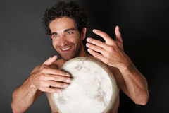 Enthusiastic drum player Stock Photos