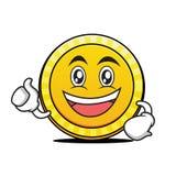 Enthusiastic face coin cartoon character. Vector art Stock Image