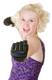 Enthusiastic Female Boxer Stock Images
