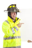 Enthusiastic Firefighter with Sign Stock Photos