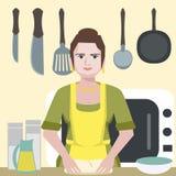 Enthusiastic funny woman character at kitchen. Vector cartoon illustration Royalty Free Stock Photos