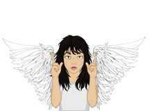 Enthusiastic girl angel with beautiful wings smiling and showing. Thumbs up. New idea. Vector illustration in pop art style on a white background. Empty space Stock Images