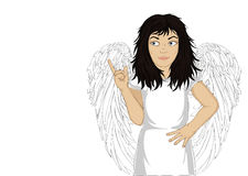 Enthusiastic girl angel with beautiful wings smiling and showing. Thumbs up. New idea. Vector illustration in pop art style on a white background. Empty space Stock Photography