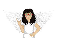 Enthusiastic girl angel with beautiful wings smiling and showing. Thumbs up. New idea. Vector illustration in pop art style on a white background. Empty space Royalty Free Stock Images