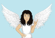 Enthusiastic girl angel with beautiful wings smiling and showing Royalty Free Stock Photography