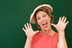 Enthusiastic girl in fifties costume Royalty Free Stock Photo