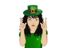 Enthusiastic girl in hat for St. Patrick`s Day holiday. Stock Photo