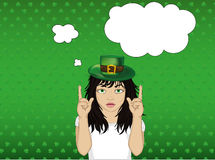 Enthusiastic girl in hat for St. Patrick`s Day holiday. Royalty Free Stock Image