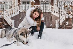 Enthusiastic girl with light-brown hair looking at her husky puppy and smiling. Outdoor portrait of blissful young woman. Posing with dog on snow stock images