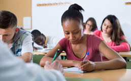 Enthusiastic girls and boys taking the notes while Royalty Free Stock Image