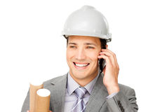 Enthusiastic male architect on phone Stock Photo