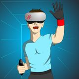 Enthusiastic man in virtual reality holds the remote and raising his hand. Vector illustration Royalty Free Stock Photography