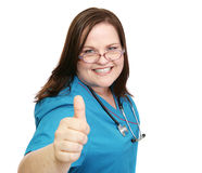 Enthusiastic Nurse - Thumbsup Royalty Free Stock Photography
