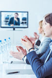 Enthusiastic reception of a business presentation stock photo