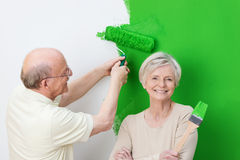 Enthusiastic senior couple renovating Stock Photos