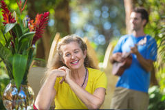Enthusiastic Senior Woman on Vacation Royalty Free Stock Photography