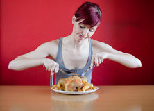 Enthusiastic skinny young woman Royalty Free Stock Image