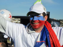 Enthusiastic slovenian soccer world cup fan Stock Photography
