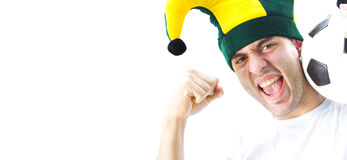 Enthusiastic soccer fan Stock Photography