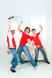 Enthusiastic sport fans Royalty Free Stock Photography