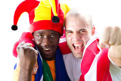 Enthusiastic sports fans Royalty Free Stock Photo