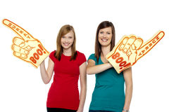 Enthusiastic sports fans Royalty Free Stock Image