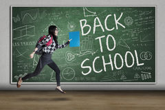 Enthusiastic student to school Royalty Free Stock Photography