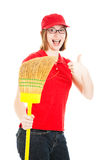 Enthusiastic Teenage Worker Stock Photo