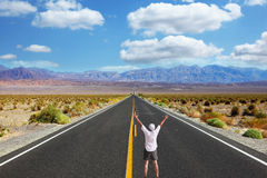 The enthusiastic tourist on great American road Stock Photos