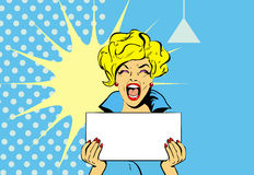 Enthusiastic woman. Portrait of a Shocked glamour woman Holding a Blank royalty free illustration