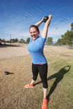 Enthusiastic Woman Exercising Outdoors Royalty Free Stock Image