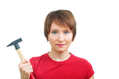 Enthusiastic woman with hammer Stock Photo