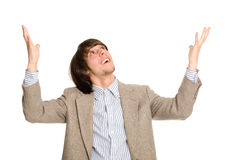 Enthusiastic young business man Royalty Free Stock Photos