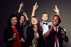 Enthusiastic Young Friends Clubbing Royalty Free Stock Photos