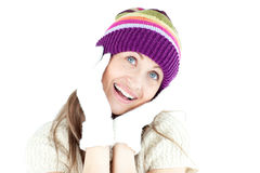 Enthusiastic young woman in the winter with gloves Royalty Free Stock Images