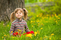 Enthusiastically surprised lovely little girl sitting in grass. Enthusiastically surprised lovely little five-year girl sitting in grass Royalty Free Stock Photo