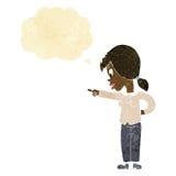 enthusiastische Frau der Karikatur, die mit Gedankenblase zeigt Stockbilder